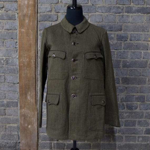 30s40s FRENCH HUNTING COTTON PIQUE  JACKET -DEADSTOCK -
