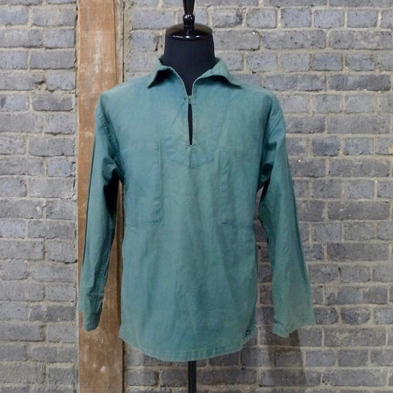 "french vintage Le GLAZIK fisherman's smock        "" forest green"""