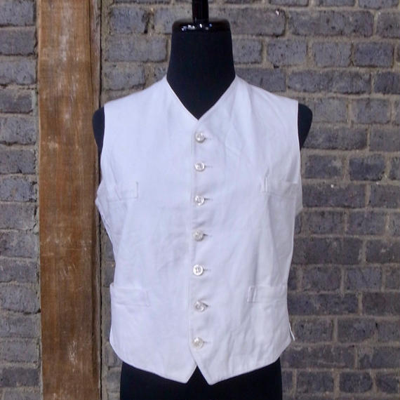 cir.1910-1920's french white linen cotton gilet