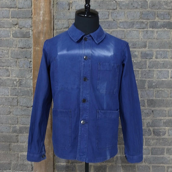 "cir. 1940's french vintage blue cotton twill work jacket  ""faded art"""