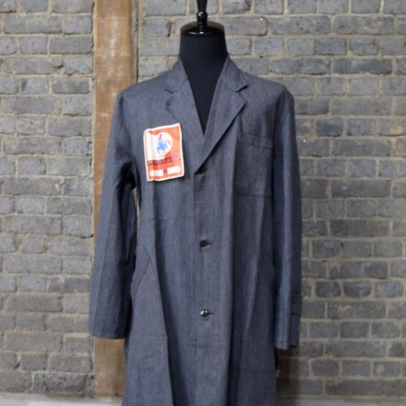 "cir. 1940-1950's  french salt&pepper motorcycle coat ""deadstock"""