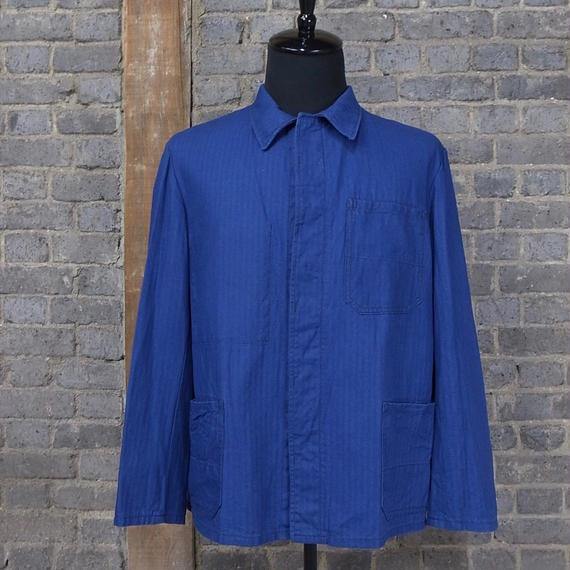"""""""herringbone"""" vintage german blue work jacket"""
