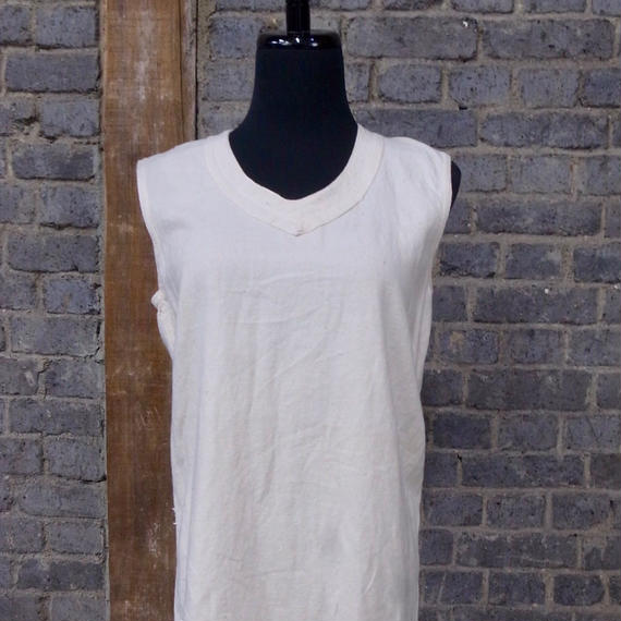 "mid 20th c. french military cotton sleeveless top ""stencil"""