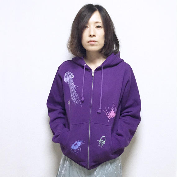 【予約受付12/24迄】パーカー(裏起毛)深海のクラゲたち 紫 パープル