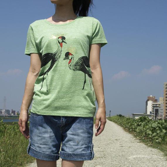 【在庫限り】Tシャツ ホオジロカンムリヅル 緑/オートミール