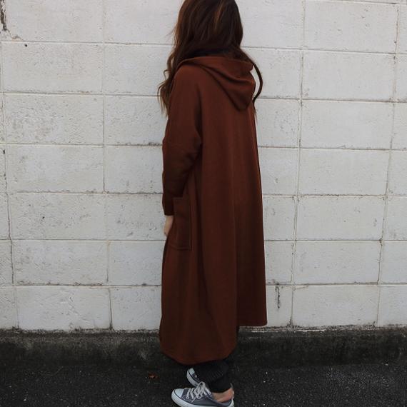おばけサイズのフード付きロングジャケット【ブラウン】