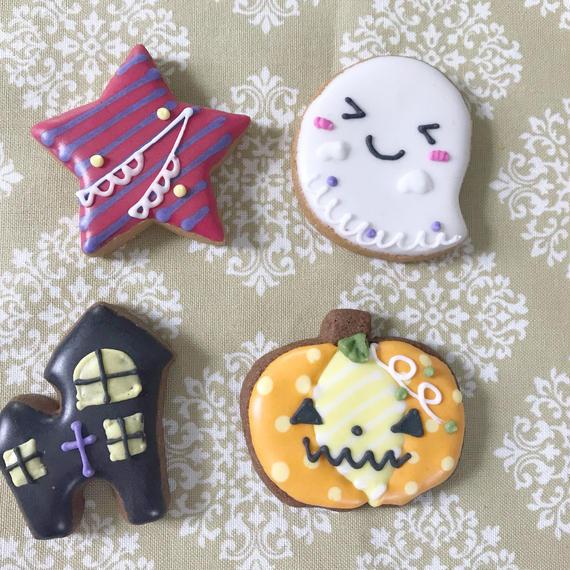 【H-3】ハロウィンミニ クッキー★4個入り お城