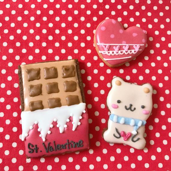 【V-2】バレンタイン❤アイシングクッキー❤くまちゃん&チョコレート