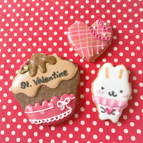 【V-3】バレンタイン❤アイシングクッキー❤うさちゃん&チョコケーキ