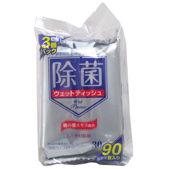 除菌ウェットティシュ 桃の葉エキス配合 携帯用 30枚入×3個パック