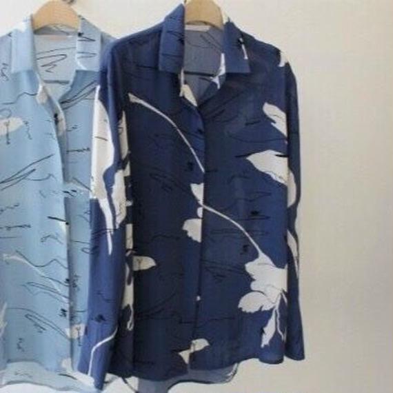 ガラプリントシャツ 2col