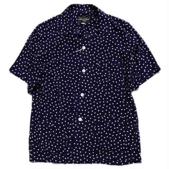 HAVERSACK(ハバーサック)   ドットオープンカラーシャツ  NAVY