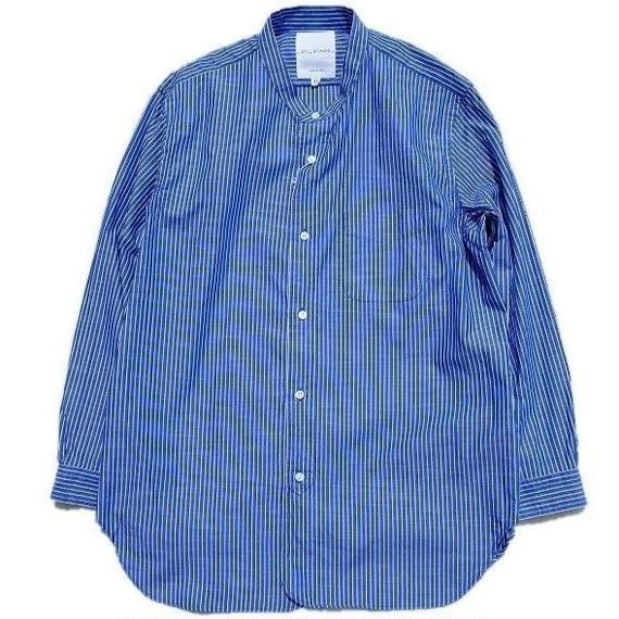 STILL BY HAND(スティルバイハンド)   バンドカラーシャツ  NAVYSTRIPE