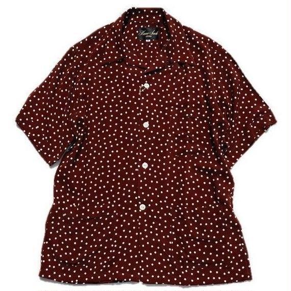 HAVERSACK(ハバーサック)   ドットオープンカラーシャツ  BROWN