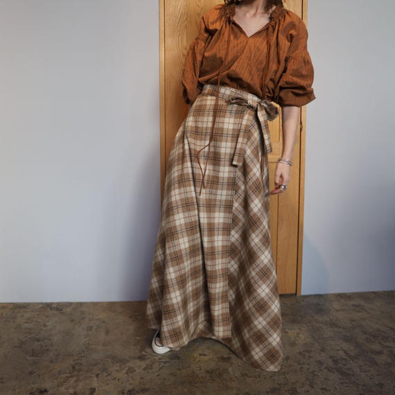 花屋の作る洋服  vol.2 =long skirt= beige check
