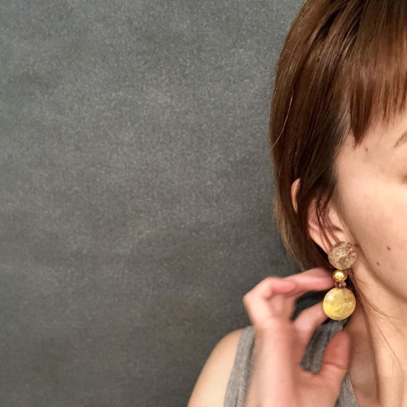 耳飾りWater flower =halfcube M 264=