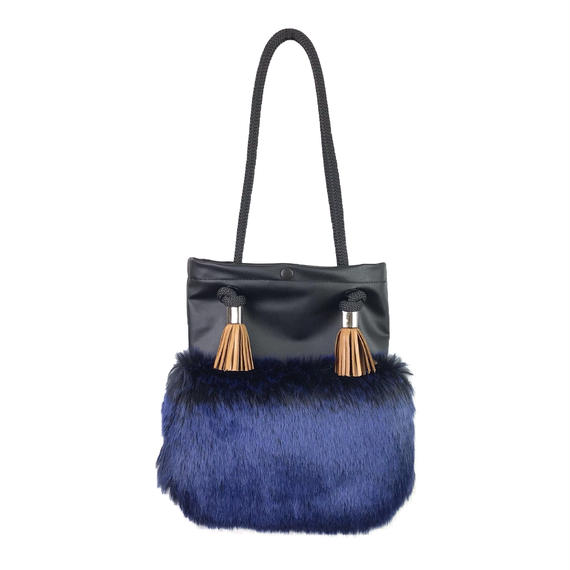 FAUX FUR BAG/BL