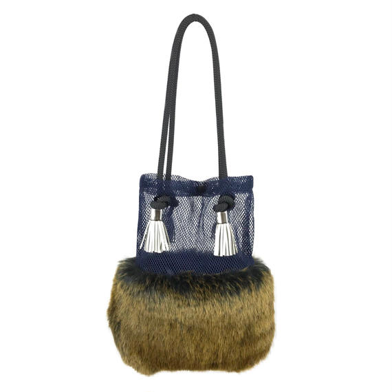 FAUX FUR × MESH BAG/NV