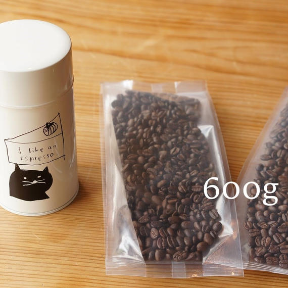 【1カ月¥3,000】【Bコース キャニスター缶付】コーヒー豆600g定期便※コーヒー豆は1ヶ月毎に、キャニスター缶は3ヶ月毎にお届け