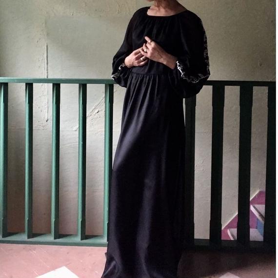 70's Vintage  Black Maxi Dress