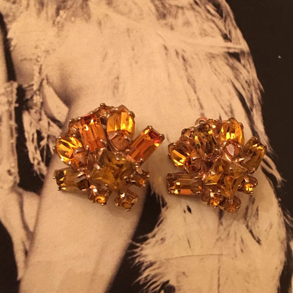 Vintage Brown Rhinestone Earrings
