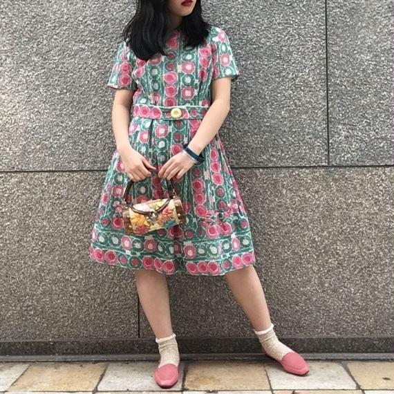 60's Vintage Circle Print Dress