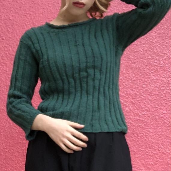 ヴィンテージ  グリーンの手編み クロップド リブニット