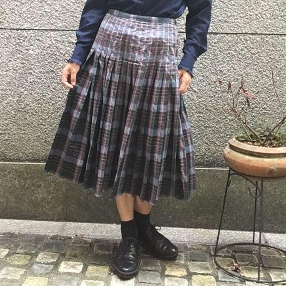 Vintage Check Pleated Skirt