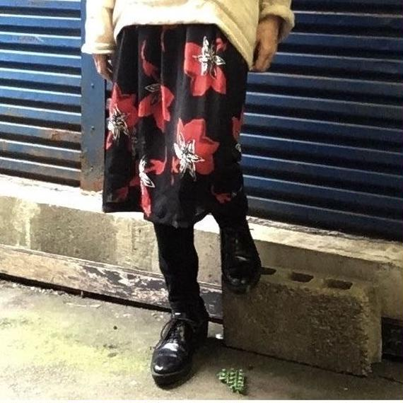 Vintage Red Floral See-through  Skirt