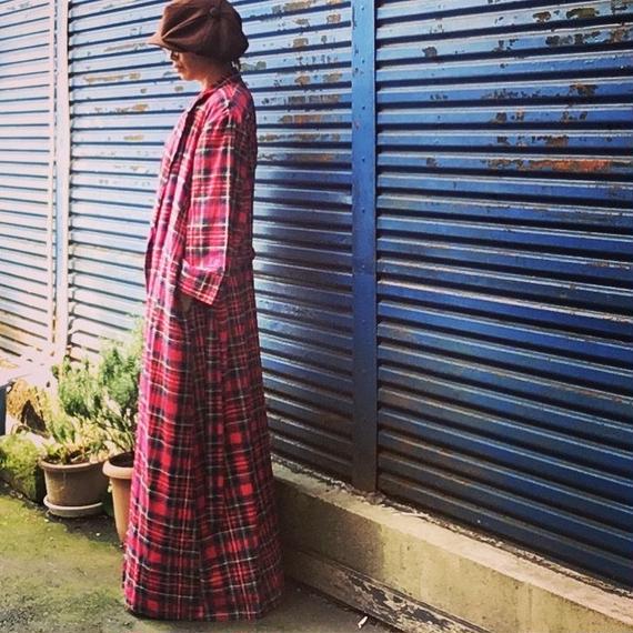 Vintage Tartan Check Long Gown