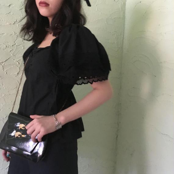 Vintage Black Cotton Lace Top