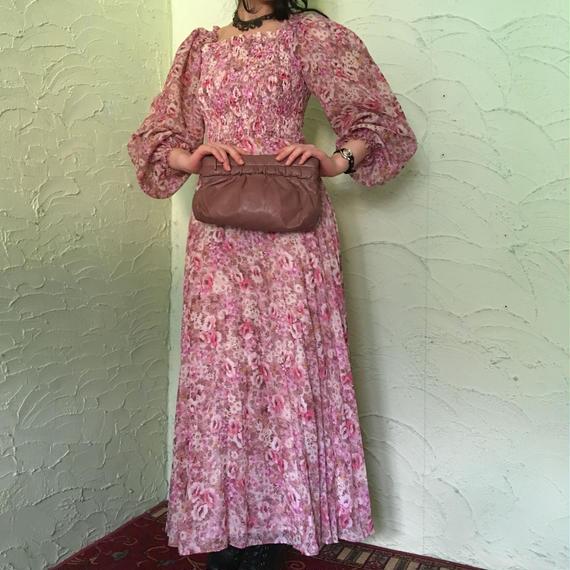 70's Vintage Floral Volume Sleeve Maxi Dress