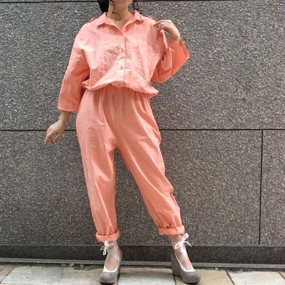 80's  Vintage Salmon Pink Cotton Jump Suits