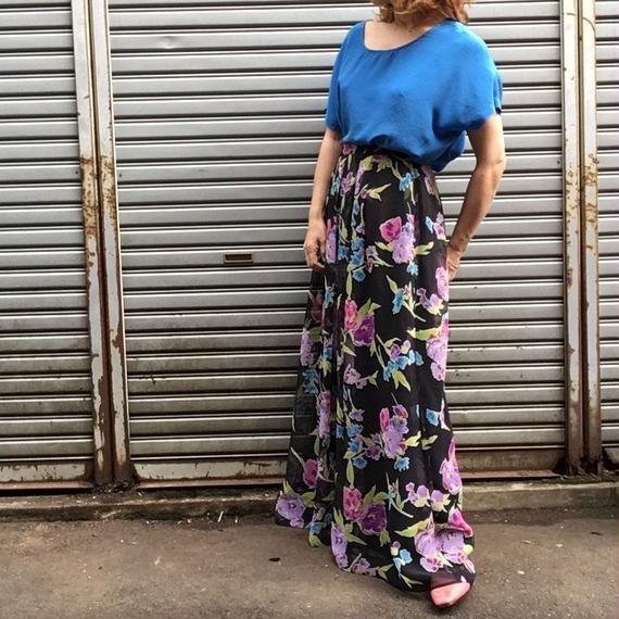 Vintage Floral Chiffon Maxi Skirt