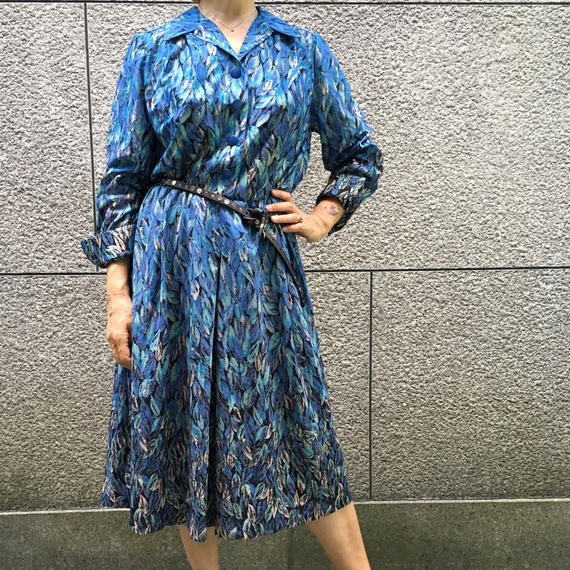 Vintage Blue Leaf Dress
