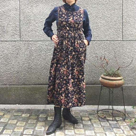 Vintage Corduroy Floral Dress