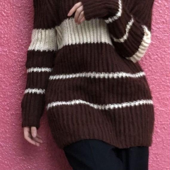 ヴィンテージ  手編み ココア色のボーダーニット