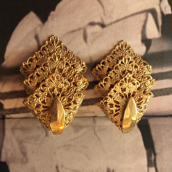 Vintage Gold Lace Earrings
