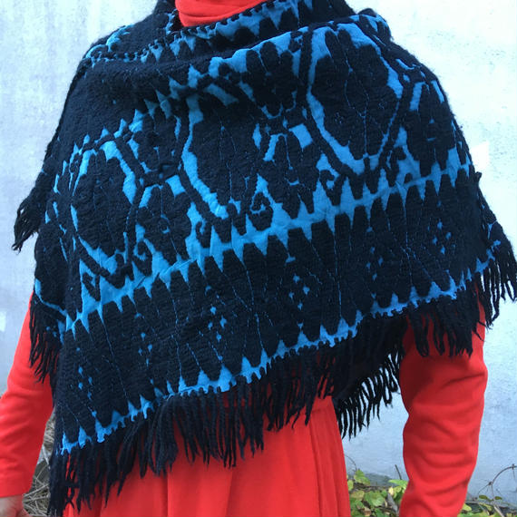 Vintage Knit Embroidery Poncho