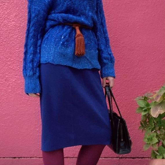 ヴィンテージ ロイヤルブルー ハイゲージ ニットタイトスカート
