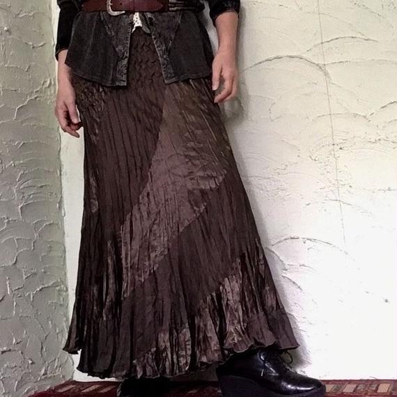 80's Vintage Pleated Maxi Skirt