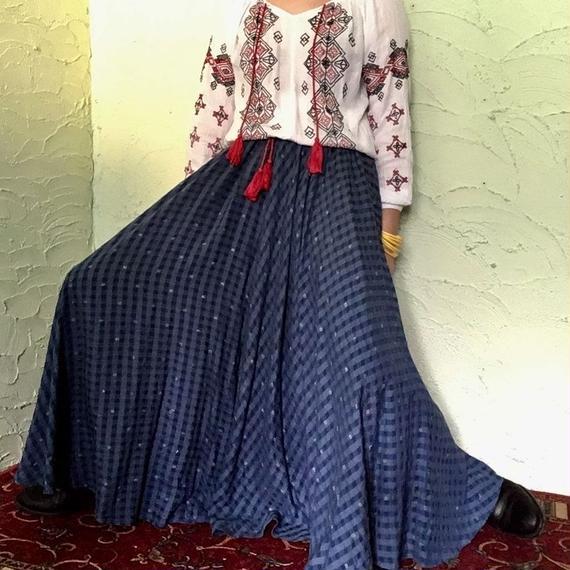 50's Vintage Blue Check Circular Skirt