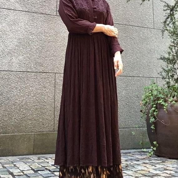 Vintage Embroidery Cocoa  Maxi Dress