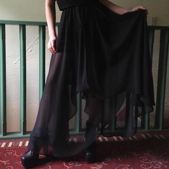 80's Vintage Asymmetry Black Chiffon Skirt