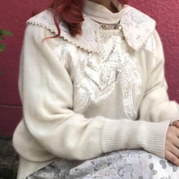 ヴィンテージ  刺繍モヘアニット