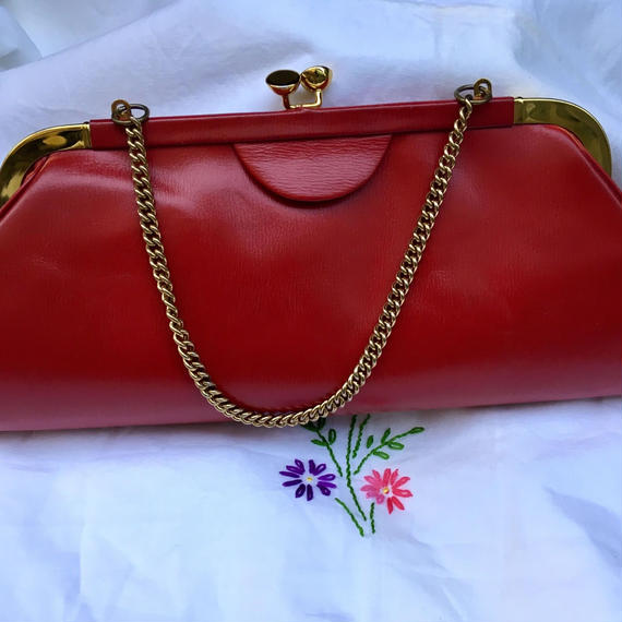 Vintage Red Kissrock Clutch