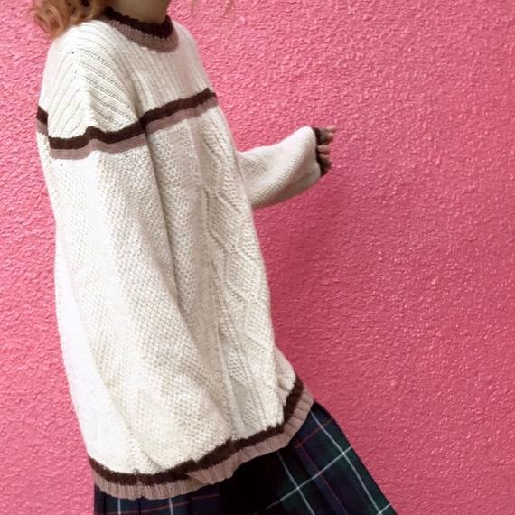 ヴィンテージ 手編みケーブル プルオーバー セーター