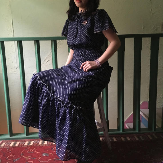 70's Vintage Dot Ruffle Maxi Dress