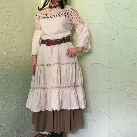 Old Cotton Crochet Dress