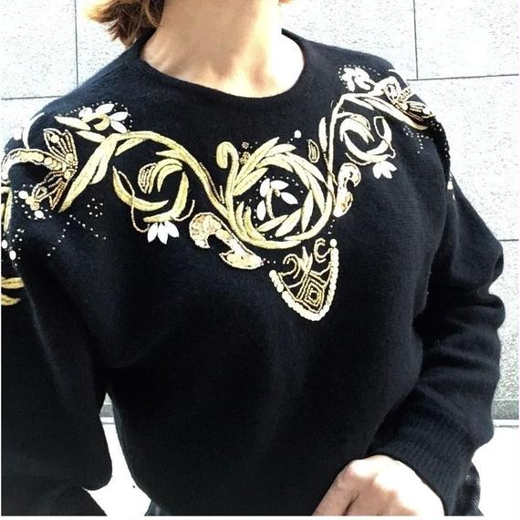Vintage Gold Embroidery Mohiar Knit